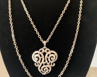 Beautiful Vintage Crown Trifari Double Strand Swirl Triquetra Pendant Polished and Brushed Silver Tone Signed Necklace SHIPS FREE
