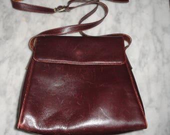 c557f2b9f6 Vintage Wine Cordovan Francesco Biasia Leather Shoulder Bag Purse Handbag  Italy Burgundy