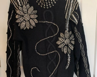 Bead and Sequin Design by Bonnie Boerer and Company Vintage Hollywood Velour Top