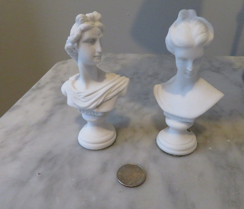 Set of 2 Vintage Italian Hand Carved Miniature Busts Lobeco Composite  Marble Apollo and Venus or Daphne or Aphrodite Greek and Roman Gods