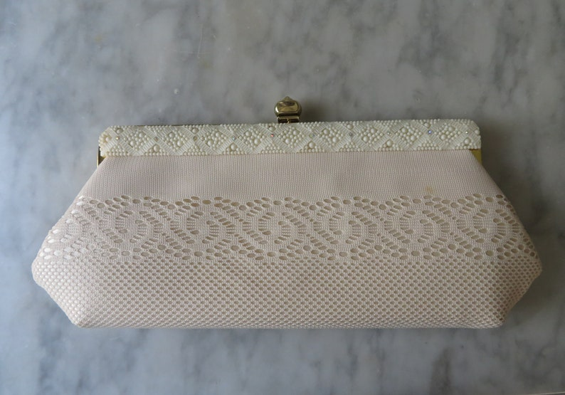 Gorgeous Vintage Off White Bridal Purse Faye Mell Design  b365255d5be63