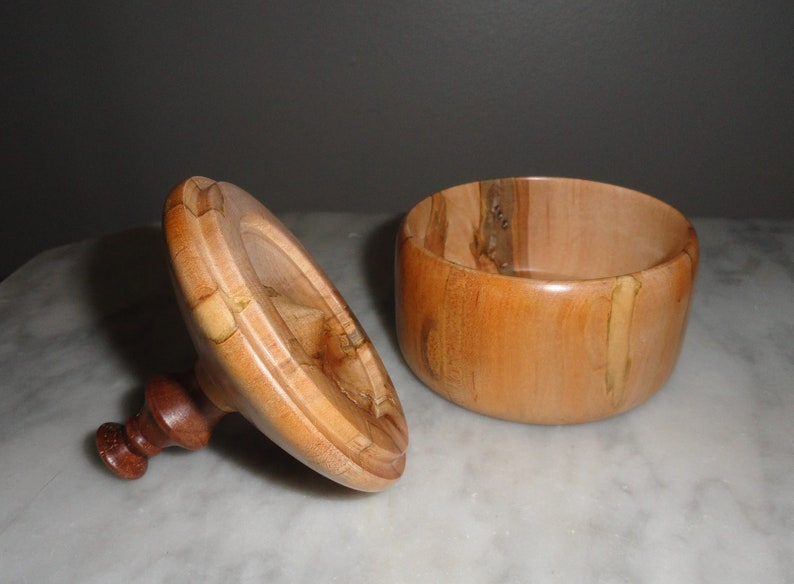 Handmade Maple and Walnut Wood Box Eden North Carolina Made in the USA Hand Carved Unique Jewelry Box Signed Art