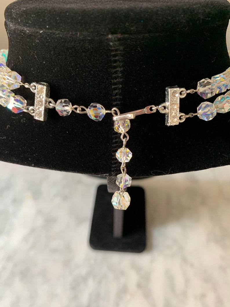 Amazing Vintage Aurora Borealis Crystal Graduated Two Strand Choker Necklace and Three Strand Bracelet Jewelry Set Bridal Wedding