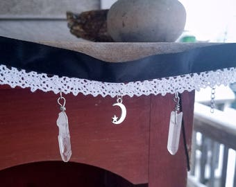 Double Crystal Quartz Point White and Black Lace Ribbon Choker Necklace / Crescent Moon Choker Necklace
