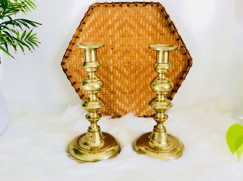 Pair of LARGE brass candleholders  Set of 2 vintage brass candlesticks  large candle holders