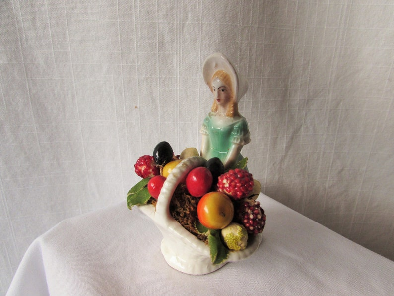 CERAMIC PETTICOAT  Figure Mary Mary Quite Contrary Basket of fruit Czechoslovakia 1940s