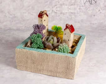 Ceramic planter with two houses, for small succulents or cactis  - Planter, pot, desk decoration, windowsill pottery ceramics (1326)
