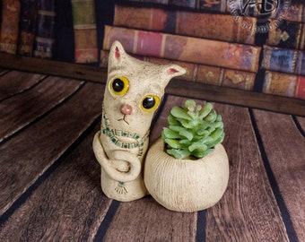 Ceramic planter with a pensive cat. Pot for small succulents or air plants, desk decoration, windowsill decor, pottery ceramics (1320)