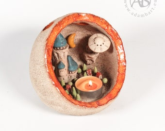 Ceramic Lantern Diorama with a tiny scene inside - tiny houses, a castle, trees, moon, a pond and UFO - Hand Made sculpture, candle (1375)