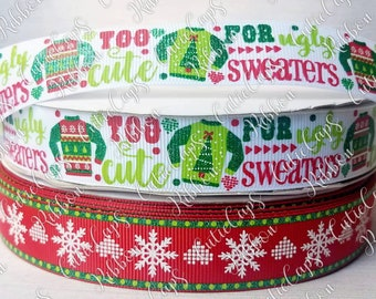 "5 YARDS OF UGLY CHRISTMAS SWEATER PARTY Grosgrain 7//8""  Ribbon Hair Bows Crafts"