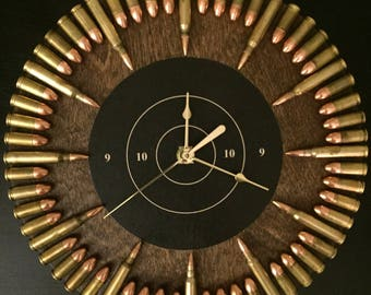 Bullet Clock with inert ammo.  Great gift for shooters, hunters, military, man cave, gun gift!