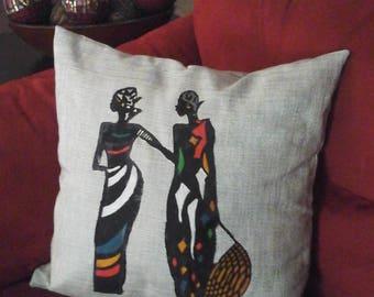 Gray African Silver Throw Pillow