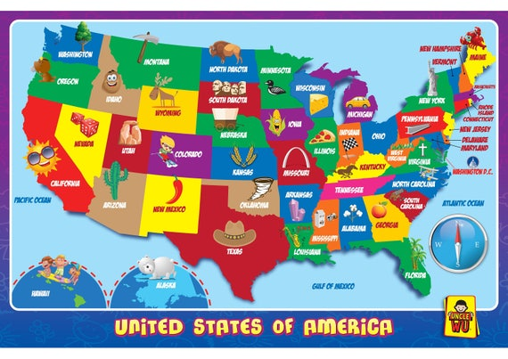 United State Map Kids Education Placemats Etsy