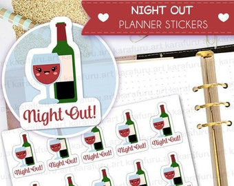 Night Out Planner Stickers - Girls Night Out Stickers - Cute Planner Stickers - Filofax Stickers - Erin Condren Stickers - Diary Stickers