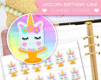 Unicorn Birthday Cake Planner Stickers - Unicorn Planner Stickers - Filofax Stickers - Erin Condren Stickers - Diary Sticker