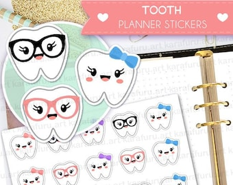 Tooth Planner Stickers - Dentist Visit Stickers - Toothache Planner Stickers - Filofax Stickers - Erin Condren Stickers - Diary Sticker
