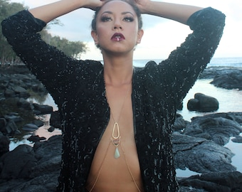 Black sequined party jacket