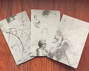 3 Notebook Set: Leonardo DaVinci Sketches, Size A6 Pocket Notebooks