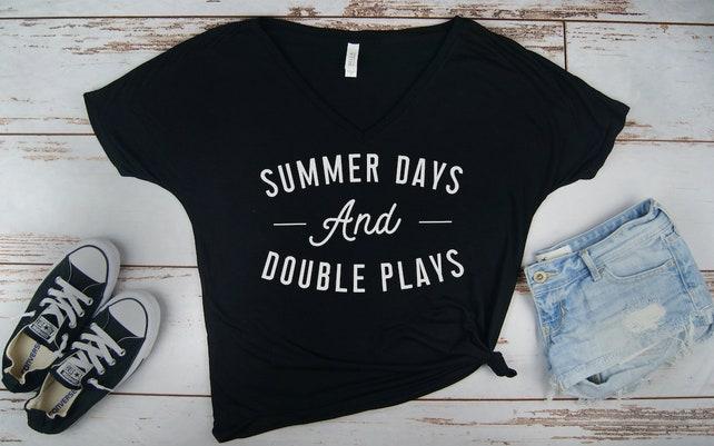 c43c6a0e61df Summer Days and Double Plays Baseball Shirt Ladies Baseball