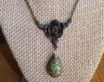 Color Changing Mood Bead/Patina Rose Pendant