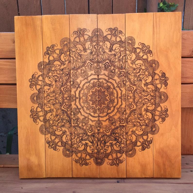 Wood Burned Mandala Wall Art