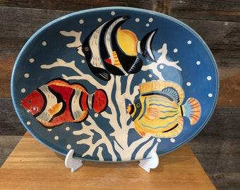 SALE Gabriel Sweden 1970s Mid-Century Ceramic Herring Fish Yin Yang Serving Dish
