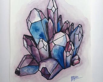 Watercolor Painting - Crystals