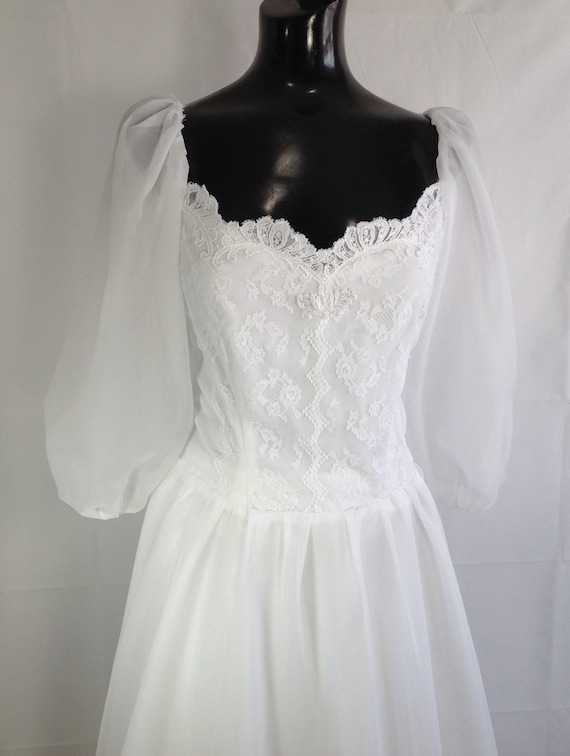 Vintage 1960-70s Wedding Dress , Sheer and Lace We