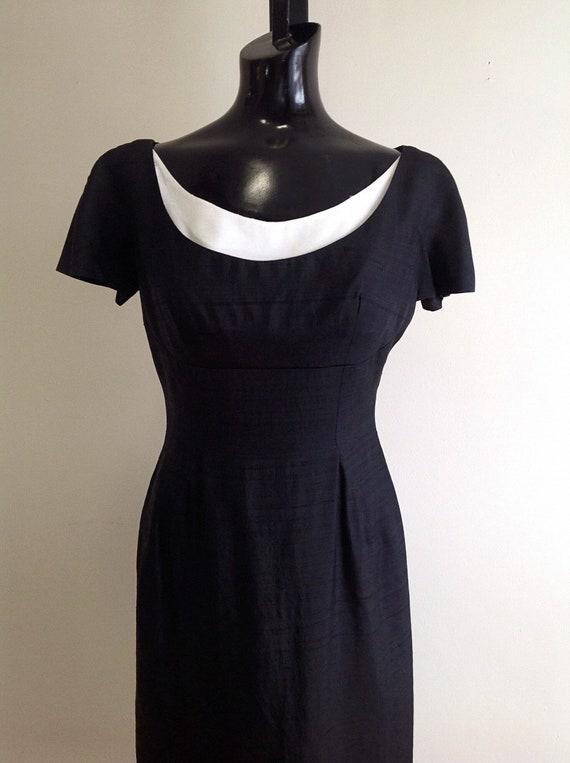 1950s vintage Linen Dress, black linen dress, vint