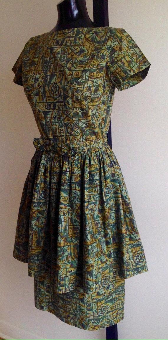 1950s cotton dress, 50s vintage dress, vintage shi