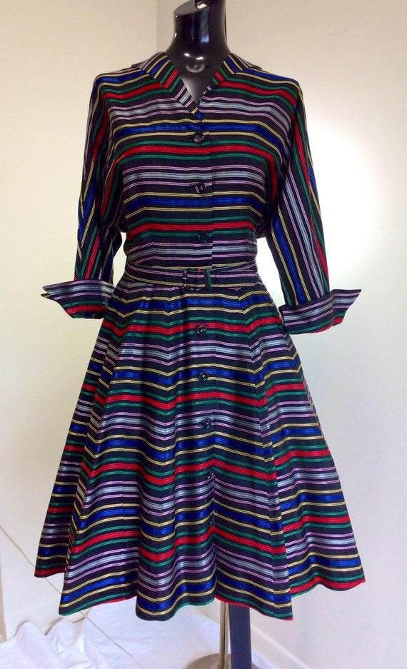 Vintage 1950s Rainbow Striped Dress/1950s Long Sle