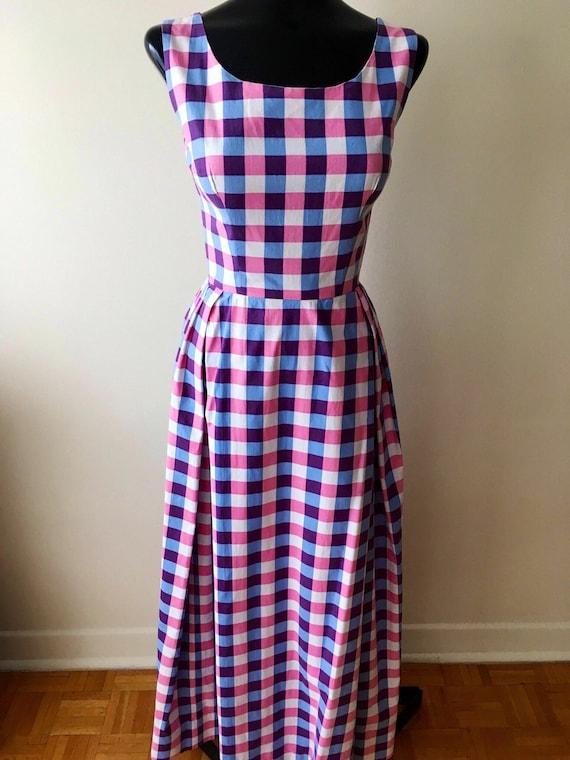 1950s plaid dress / pink and purple cotton vintage