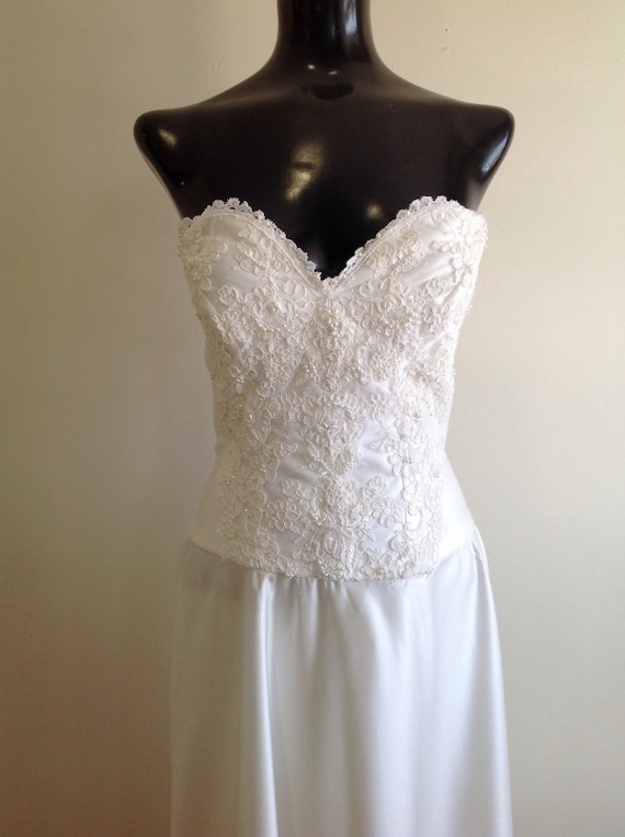 Vintage Strapless Wedding Dress, 1980 Wedding Dres