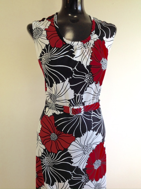 Charles Carroll 1960s Long dress, Red/White and Bl