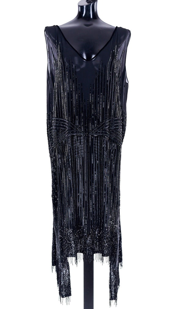 1920s flapper, vintage black beaded gown, 1920s dr