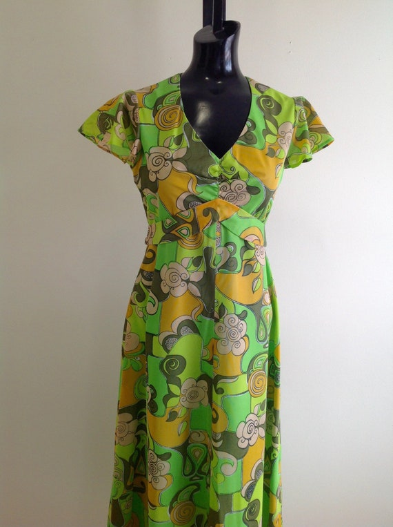 Vintage 1970s Colorful Print Long Dress, Groovy 19