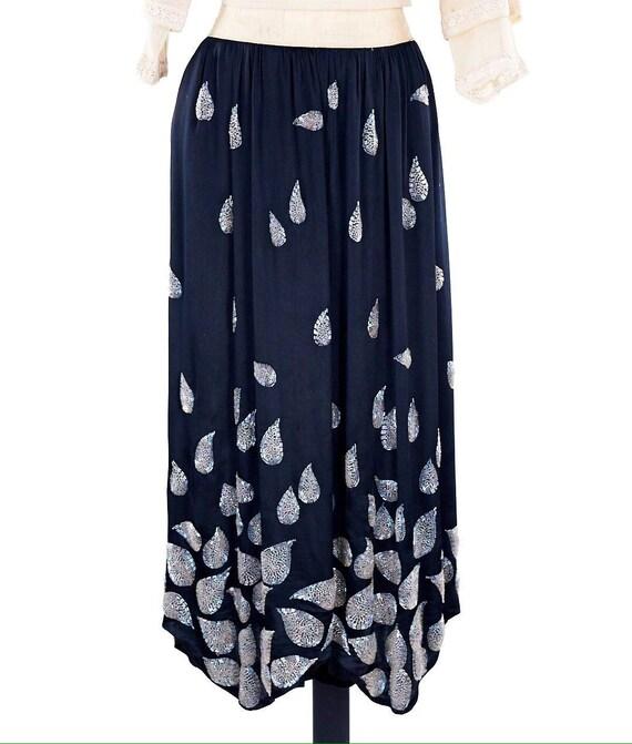 Edwardian skirt, Vintage satin skirt, paisley bead
