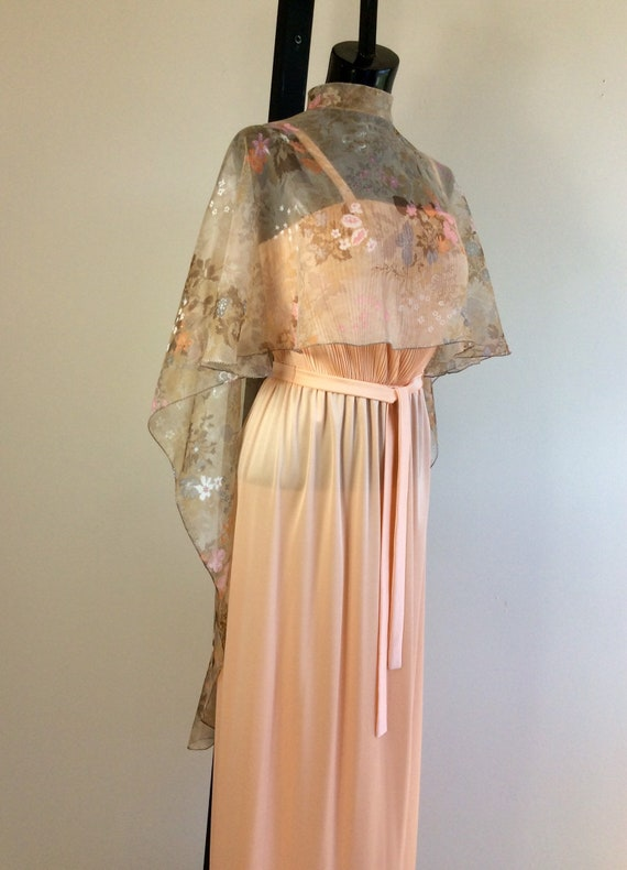 1970's Peach Dress with Removable Cape