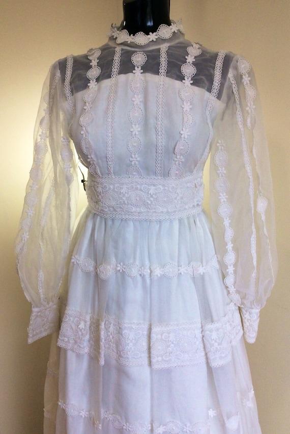 vintage boho wedding dress, 1970s wedding, long sl