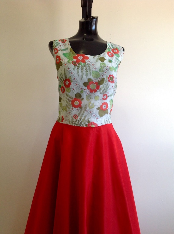Mid century floral dress, vintage floral Long Dres