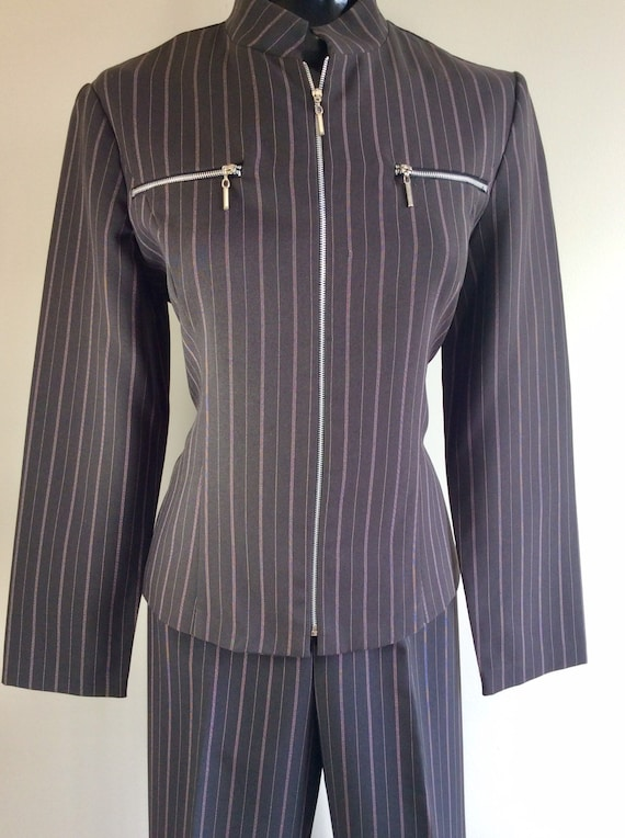 Vintage Scarlett Pinstriped Two Piece Pant Suit - image 2