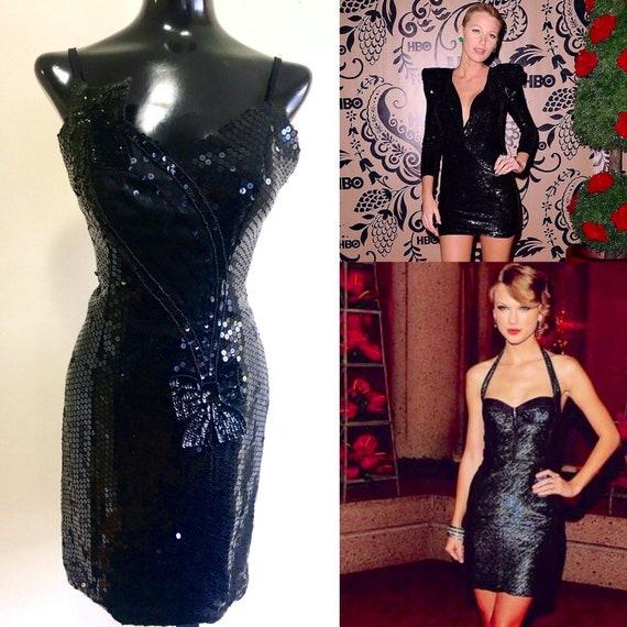 80's Black Sequins dress, Bachelorette party dress