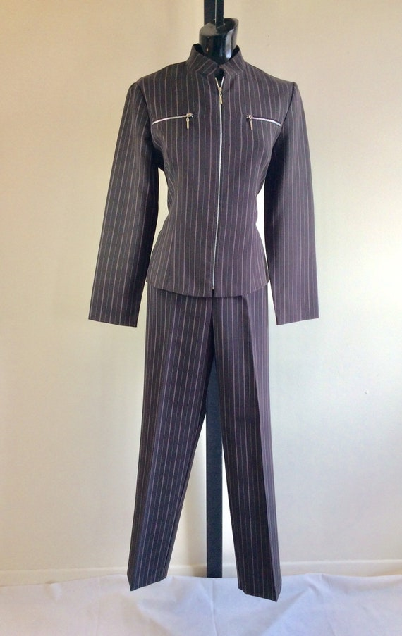 Vintage Scarlett Pinstriped Two Piece Pant Suit - image 1