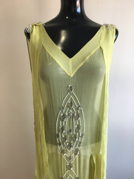1920s dress, 1920s yellow flapper, beaded gown, ye