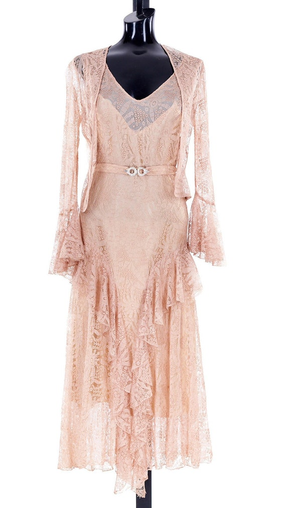 1930s Lace Wedding Dress, vintage blush wedding dr
