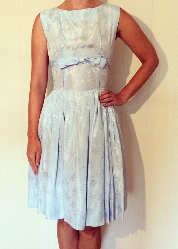Vintage tea dress, 1950s blue brocade dress, 1950s