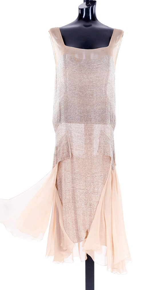 1920 Antique Beaded Flapper Dresss, hand-beaded fl