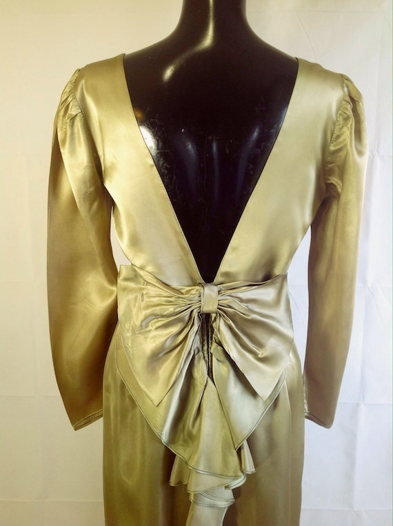 1940s Art Deco Style Green/Gold Dress