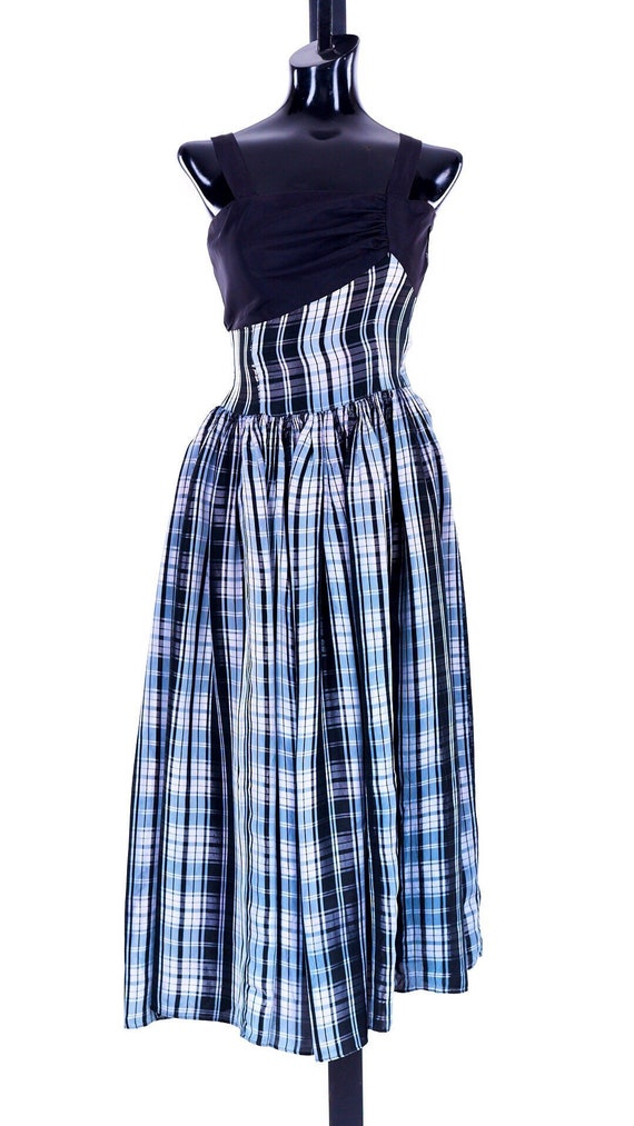 Long plaid dress, vintage plaid dress,  50s formal