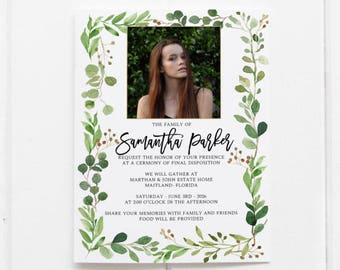 celebration of life invitations etsy